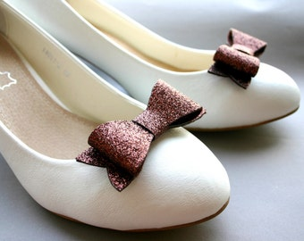Chocolate Glitter! Sparkling shoe clips in choc brown, bows, bow clips, glittering, bridal, pinup, burlesque, wedding, glittery