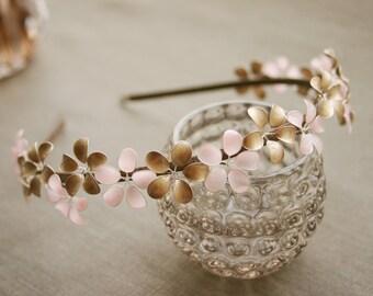 Rose & Gold: Alice band with tiny flowers, blush + pale gold, aliceband, antique gold + pale pink, headband, hairband, bridal, wedding