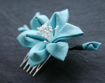 Kanzashi flower in aqua - blue, silk dupioni, decorative comb, bridal, wedding, light blue, mint, hairflower, Japan, Kanzashi