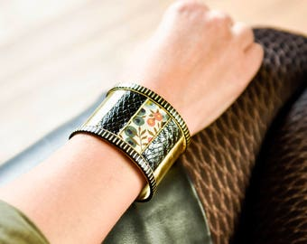 Cuff bracelet, liberty fabric terracotta and imitation leather, art deco style