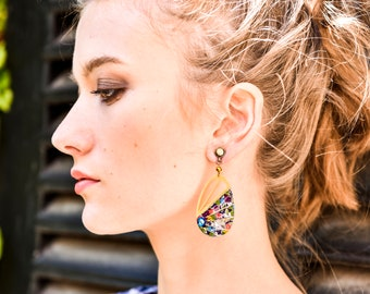 ELENA - Boucles d'oreilles art déco fleurs bleu vert rouge, cabochon bleu femme