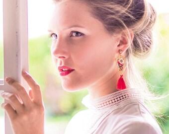 Bianca - Boucles d'oreilles art déco tissu Liberty et pompon rouge