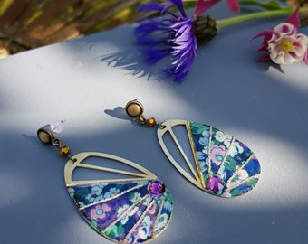 Elena - Boucles d'oreilles art déco fleurs bleu vert violet femme cadeau