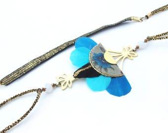Gilda - Bijou de cheveux à plumes, bleu