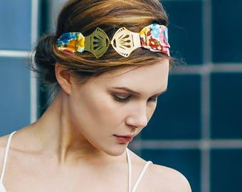 Stella - Bandeau, bohème art déco tissu fleurs bleu, rose, bordeaux, jaune