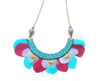 Necklace feather bohemian ethnic chic pink and turquoise - spring summer