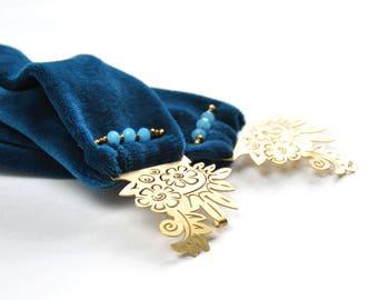 Arabella - Bandeau style art déco fermoir en laiton et velours bleu canard