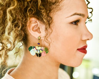 Gilda - Boucles d'oreilles à plumes ethnique vert, rose, bleu, tissu Liberty