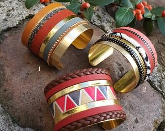 NAVAJO - Bracelets manchettes terracotta oranger, noir, doré