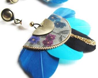 Gilda - Boucles d'oreilles plumes bleu nuit, bleu aqua, noir pailleté, doré