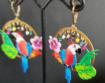 Bahia - Boucles d'oreilles perroquets fleurs exotiques été tropical femme brésil