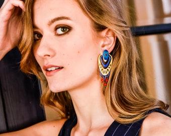 Gloria - Boucles d'oreilles art déco, bleu, rouge