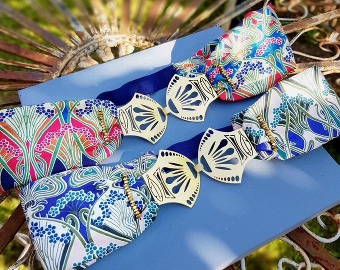Featured listing image: Stella - Bandeau cheveux headband bleu rouge art déco liberty