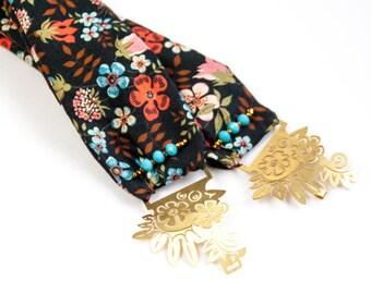 Arabella - Bandeau à cheveux, en laiton et tissu Liberty noir à fleurs