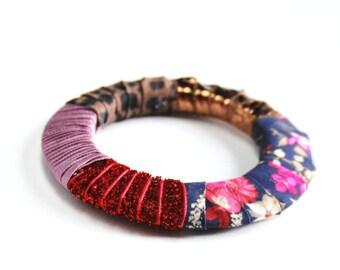Kumba - Bracelet ethnique textile multicolore, rose, rouge, bleu, cuivre, d'inspiration africaine