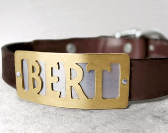 Custom Dog Collar with Metal Name Plate, Personalized Simple Rectangle