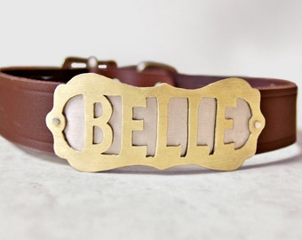 Custom Dog Collar with Metal Name Plate, Personalized Western