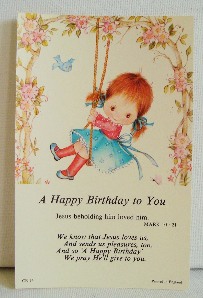 Kitsch Birthday Greetings Card Religious Themed Postcard