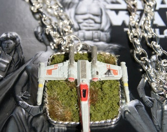 Awesome X-wing necklace, hung on a 20 inch chunky silver chain.