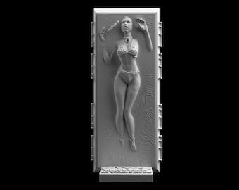 Star Wars Slave Leia in Carbonite Download 3D print model STL files statue figure digital pattern 3D printing Sculpture Art