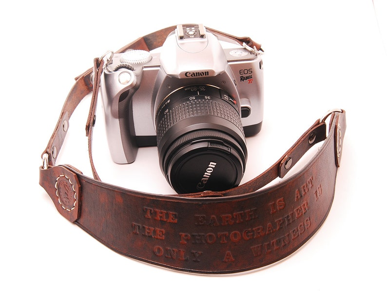 Custom personalized Leather Camera Strap Doubles as a Hand image 0