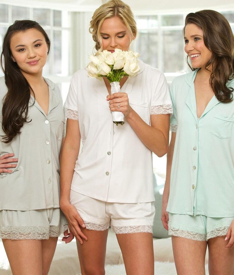 3a1734a79db Bridesmaid Pajamas, Bridesmaid PJs, Bridal Pajamas, Wedding Lace PJ Sets,  Bridesmaid Gift