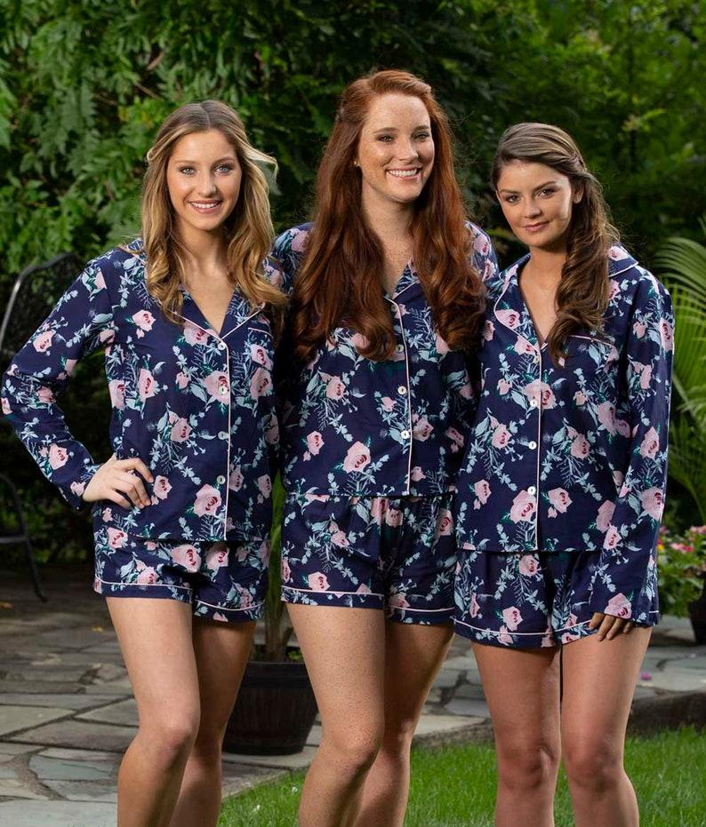 161c953ca Long Sleeve Pajama Set Bridesmaid Bridesmaid Floral Pajama | Etsy