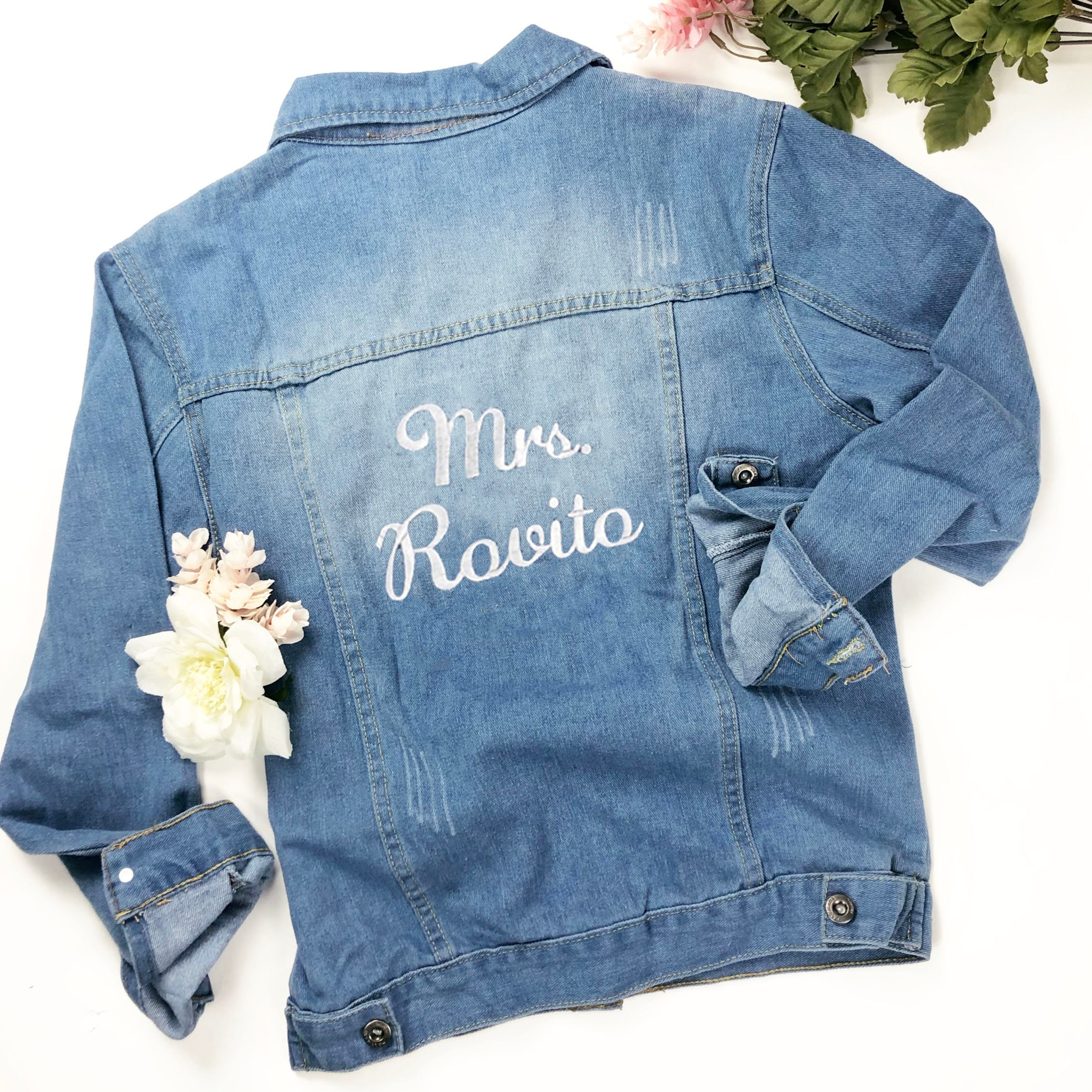 Personalized Jean Jacket Custom Denim Jacket Gift For Bride