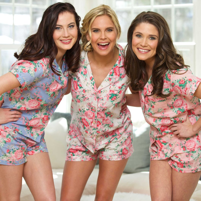1433c0f67b2 Bridesmaid Pajamas, Bridesmaid PJs, Monogrammed Pajamas, Personalized  bridesmaid pajamas, Floral PJ Sets