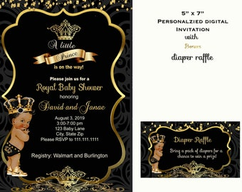 Lion Themed Baby Shower Invitation Royal Baby Shower Invite Black and Gold Invite