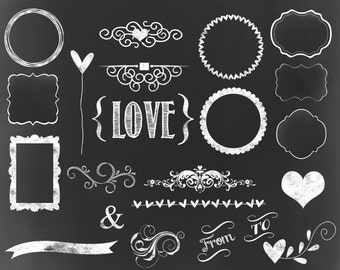Chalkboard Frames Labels For Invitations Tags Scrapbooking Chalk Clipart Digital Wedding