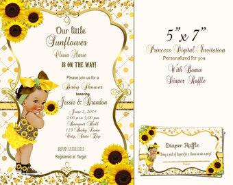 Sunflower Baby Shower Invitations Etsy