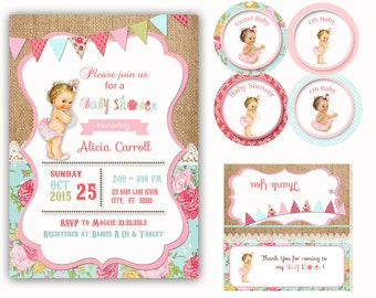 Shabby Chic  Baby Shower invitation, Vintage Girl Baby Shower invitation Baby shower invitation, Shabby Chic invitation thank you printable