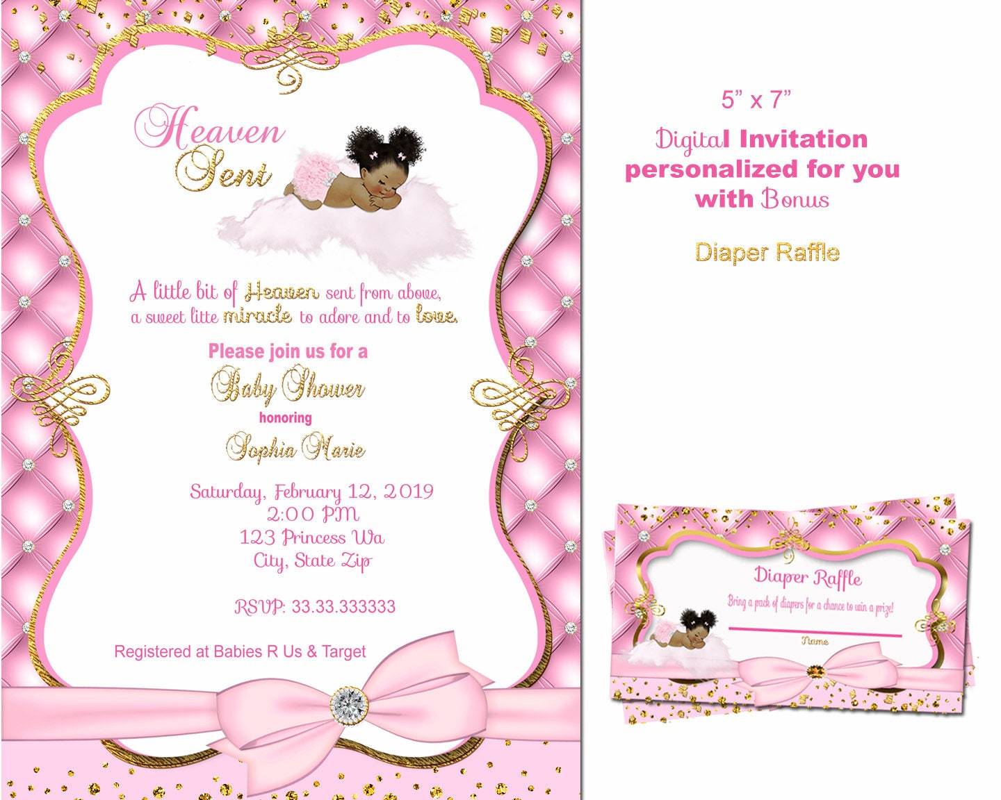 Little Angel Baby Shower invitation Heaven sent invitation Royal Baby  shower invitation tickled pink thank you sprinkle African American