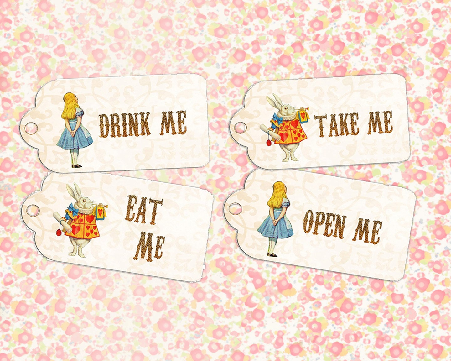 Alice In Wonderland Birthday Party Eat Me Drink Tags First Invitation White Rabbit Queen Of Hearts Mad Hatter Digital