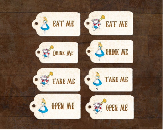 Alice In Wonderland Birthday Party Eat Me Drink Tags 2 X