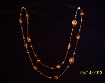Brass Colored Plastic Bead and Stone Bead Necklace #009
