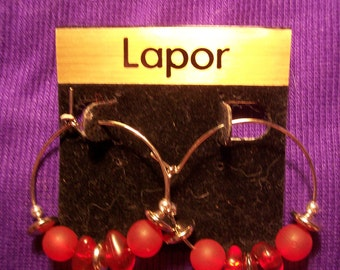 Vintage Lapor Silver Hoop Earrings with Red Bead Accents #240