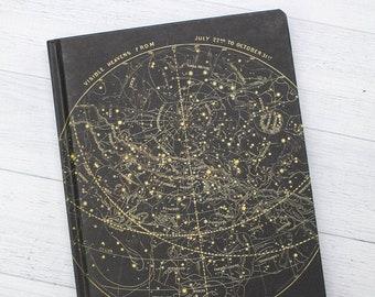 Star Chart Night Sky Hardcover Notebook | Graph Paper Notebook, Dream Journal, Space Notebook, Astrophysics, Pregnancy Journal