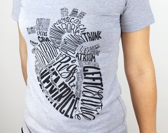 Anatomical Heart T-Shirt | Nursing Nurse Science Tee, Anatomy, Science Shirt, Cardiology, Cardiac, Heart Shirt, Unisex & Women's Size S-XXL