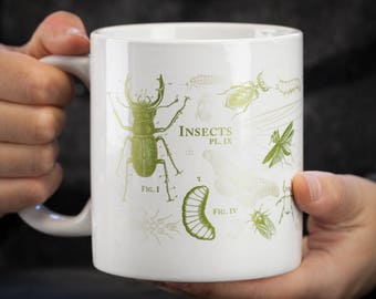 Insect Mega Mug | Large Coffee Mug, Entomology, Bug Mug, Teacher Gift, Gardener Gift, Biology Gift, Botanical, Hercules beetle, butterfly