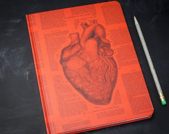 Anatomical Heart Hardcover Journal | Dot Grid Notebook, anatomy nurse, surgeon, science gift, med school, doctor, valentine, cardiac