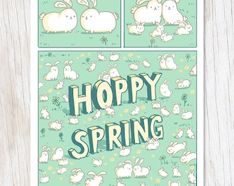 Happy spring card etsy happy spring rabbit card cute bunnies greetings card blank inside rabbit owners gifting card rabbit stationery whimsical m4hsunfo