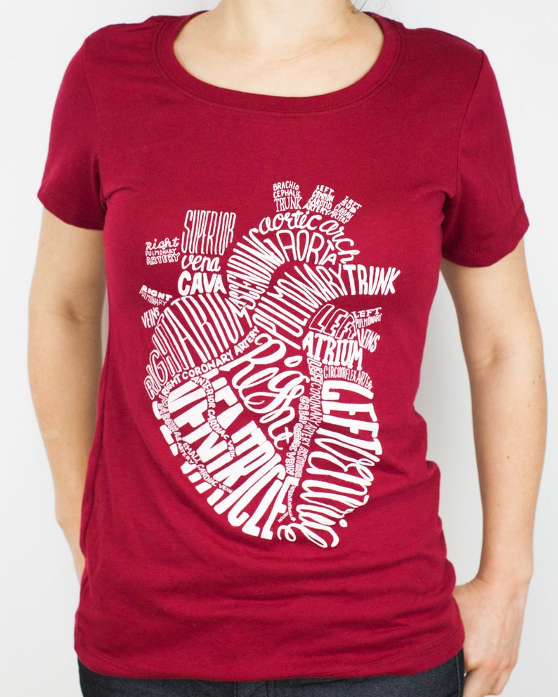 Red Shirt TeeEtsy Nurse Anatomical T Heart Nursing Science 8n0wPOkX