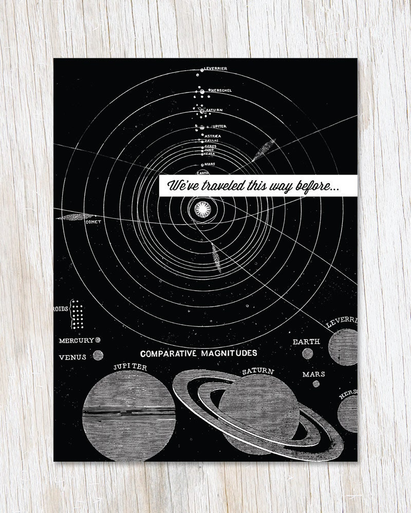 Astronomy Birthday Card Travel Galaxy Stars Planets Etsy Free Illustration Solar System Orbit Diagram Digital 50