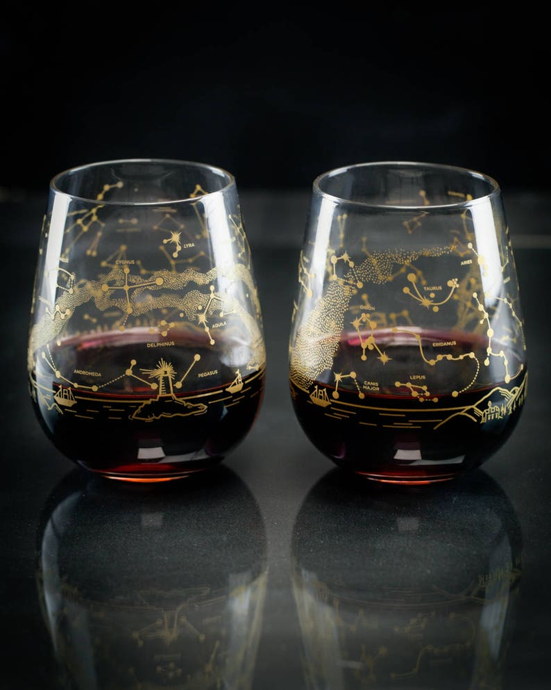 087d7e87147 Night Sky Print Wine Glass Set | Science Wine Glass, Space Glass