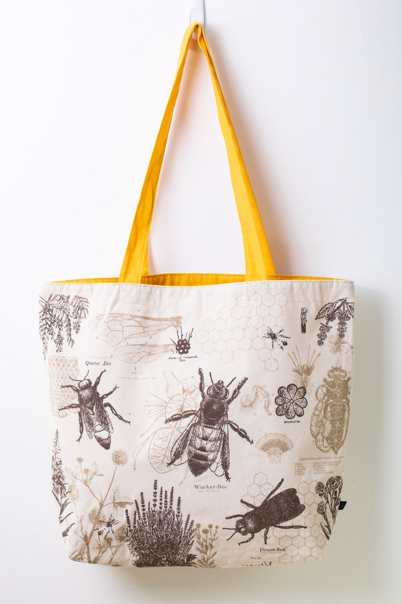 Honey Bee Shoulder Tote Bag Reversible Tote Beekeeper Gift image 0
