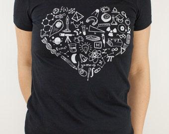 Love Science T-Shirt | Mathematics, Biology, Physics, Graduation Gifts for Her, Gifts for men, nerd, heart shirt, girlfriend gift, STEM