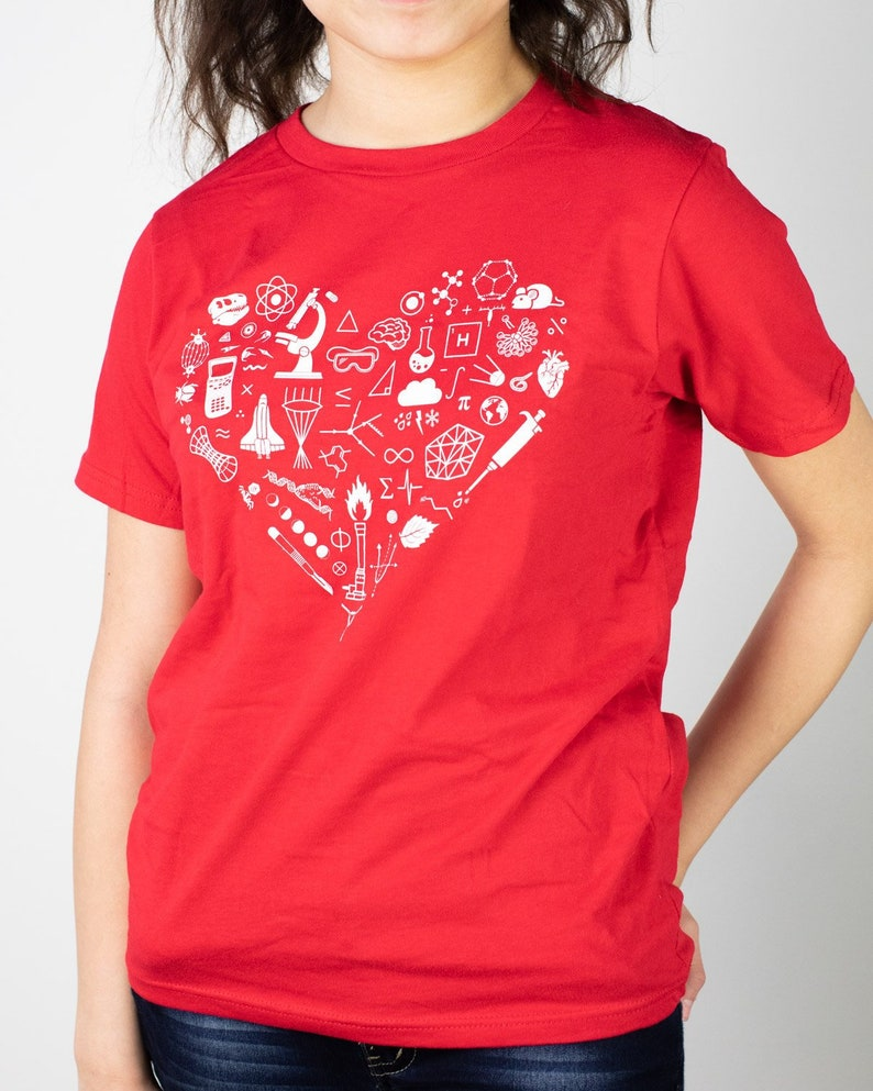 4829c5e3a Youth Science T Shirt Science Symbols Heart Tshirt Science | Etsy