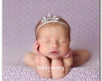 Princess Tiara Headband Coral and Aqua Headband Toddler Headband Baby Headband Newborn Headband Crystal Crown Headband Coral Headband